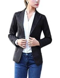 Mujer Camisa Slim Fit Otoño Traje De Ocio Manga Larga De Solapa Chaqueta  Modernas Casual Negocios Botonadura Colores Sólidos Hipster… 7799686b3f46