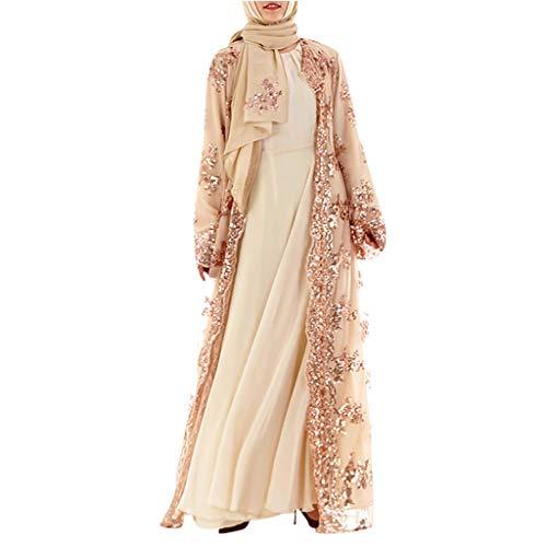 TWIFER Muslimische Damen Spitze Pailletten Strickjacke Maxikleid Kimono Open Abaya Robe Kaftan Dubai Pailletten Stickerei Spitze Der Muslimischen Frauen Lange Rock Wolljacke (Vakuum-klavier)