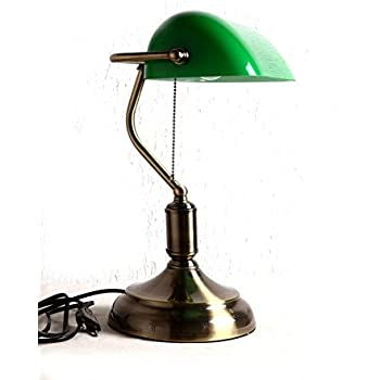 table lamp style green glass shade antique brass finish