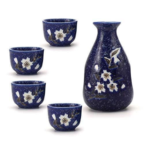 MLWTB Japanisches Sake Set, Keramik-Weinset, Weißweinabscheider, Weißweinglas,5-teiliges Set -