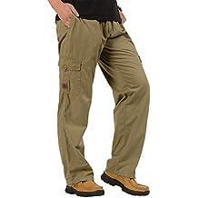 CardanWolf - Pantalones de Trabajo Cintura Elástica Algodón Ancho para Hombres Cargo Deportes Ocasional