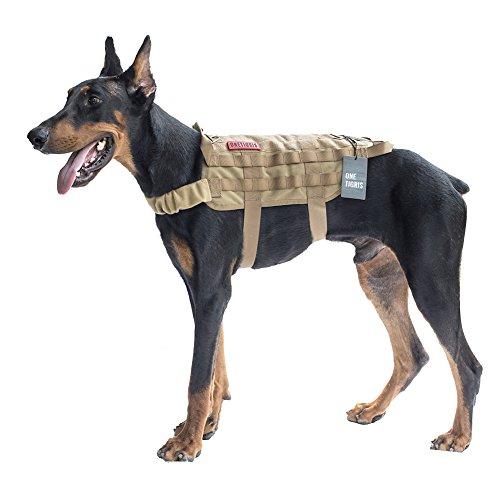 OneTigris Taktische MOLLE Weste Geschirr Hundegeschirr Hundeausbildung (Khaki, XL/54cm)