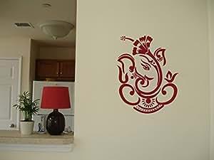 WallDesign Dasavala Ganesha Maroon Wall Sticker (Medium) - 18 inch height by 14 inch width