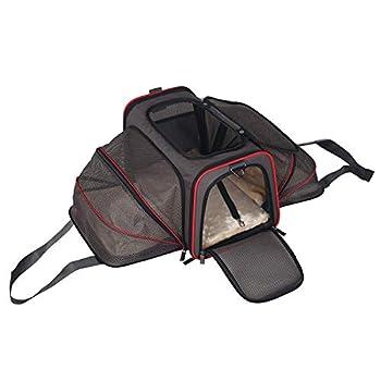 ABISTAB Pets - Sac de transport extensible, pliable, pour animaux de compagnie avec matelas confortable, panier à chat/chien souple - pour voyages en avion / voiture