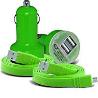 (Green) Vernee Active Universal Compact design 12v Quick Compact Mini Bullet USB Dual Port In Car Charger & 2x Micro USB Flat 1 Metre Data Snyc PC Tablet Charging Cable Exclusive To i -Tronixs