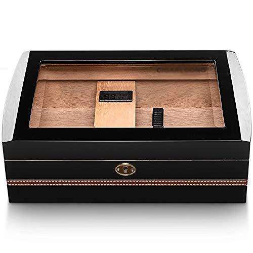 DS- Humidor Zigarrenschachtel - Zigarrenschachtel Zedernholz Glas transparent Fenster Klavierlack Zigarren Humidor Zigarrenschrank schwarz &&