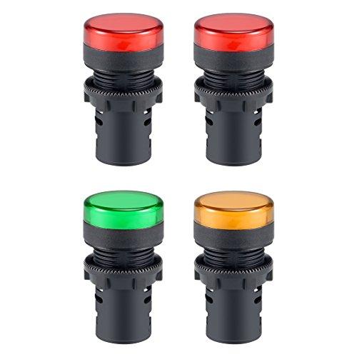 Sourcingmap 4AC 220V Kontrollleuchten, rot + grün + gelb LED, Flush Panel Mount 7/20,3cm 22mm Led-panel Mount
