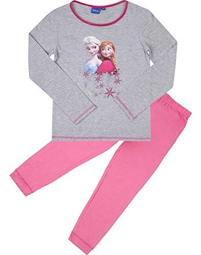 Frozen Mädchen Schlafanzug aus Baumwolle EP2009 (Grau/Rosa (2162), 8 Jahre-128) (Von Hose Ausarbeitung Muster)