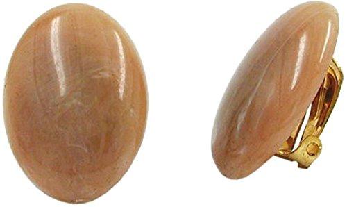 Unbespielt Modeschmuck Damen Schmuck Ohrschmuck Ohrringe Ohrclip oval braun 25 x 18 mm