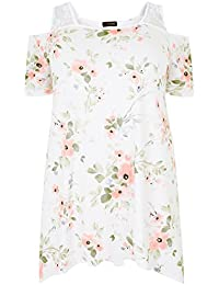 aeb2e402a3025 Yours Clothing Women s Plus Size Ivory Floral Lace Cold Shoulder Top