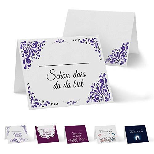 Partycards 50 Tischkarten/Platzkarten DIN A7 für Hochzeit, Geburtstag, Kommunion, Taufe (DIN A7, Drops Lila)