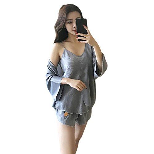 Yalatan Women Pajama Set Rose Embroidery Soft Comfortable Sleepwear Grey
