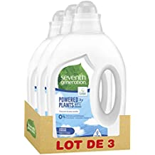 Seventh Generation, Lessive Liquide écologique Free & Clear d'Origine Naturelle, Certifiée Ecolabel,  20 Lavages (Lot de 3x1L)