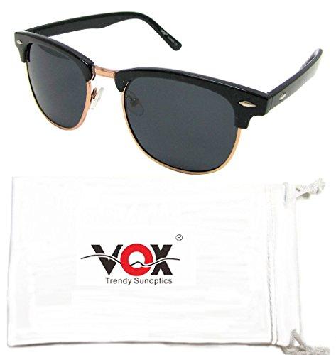 VOX polarisierte Sonnenbrillen Horn Umrandeten Klassische 80's Suchen Retro Jahrgang Promi Brillen und Kontaktlinsen- Ideal für kleinere Gesichter! – Schwarz und Gold Frame-getöntes (Horn Umrandeten Für Brille Frauen)