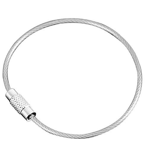 Lixada 10pcs Edelstahl Draht Keychain/Seil Schlüsselketten/Kabel Ring Schlüsselring. (Draht-schlaufen)