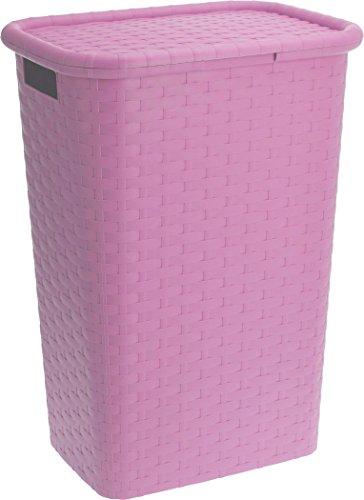 Wäschebox in Flechtoptik 65 Liter - pink - Wäschetruhe Wäschekorb