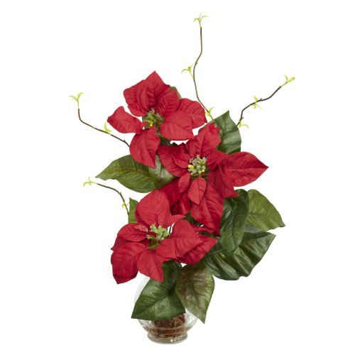 Fluted Vase (Nearly Natural 1263 Poinsettia with Fluted Vase Silk Flower Arrangement, Red by Nearly Natural)