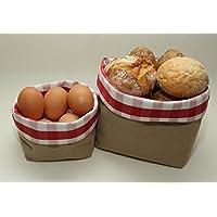 Brotkorb-Set | Brotkörbchen | Brötchenkorb | 2er Set Körbchen | Frühstückskorb 2 Stück | rot-weiß kariert