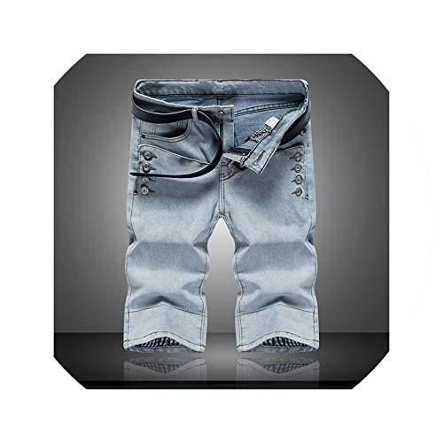 Summer New Light Blue Denim Shorts Men's Button Decorative Shorts Men's Elastic Youth Casual Shorts Size 28 34,Light Blue,29