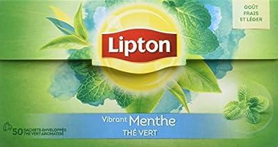 Lipton Thé Vert Menthe 50 Sachets 80g, Lot de 2