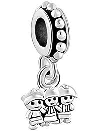 Uniqueen Abalorio de tres niñas, compatible con la pulsera Pandora