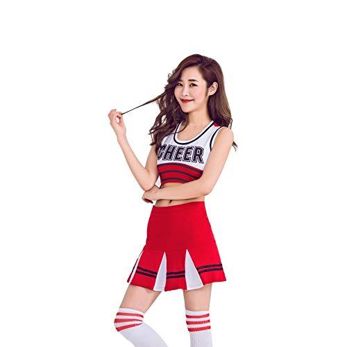 er-Kostüm,Mädchen Cheerleading Uniform-Anzug Weste Shorts Briefprint Fußball-Basketball-High-School-Sport-Wettbewerb Tanz-Performance, Rot, S ()