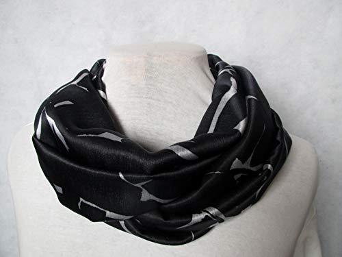 Schal, Loopschal genäht aus reine Seide, schwarz,weiß