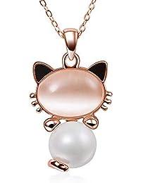 Collier Femmes Bijoux Fantaisie Pendentif opale chaton Enroulé en Cristaux  Autrichiens chaîne plaqué or rose Pour 837da92cb576