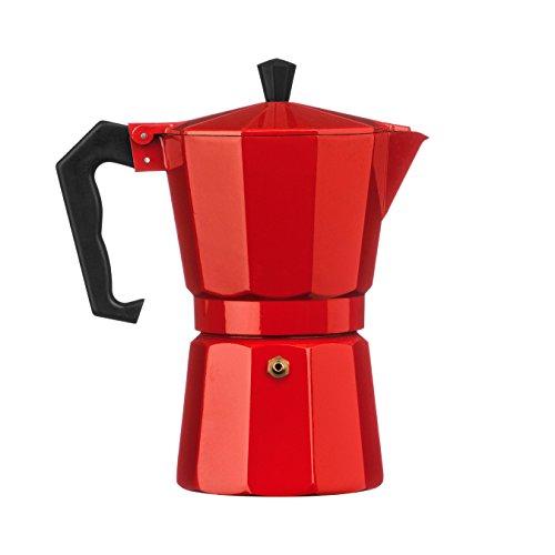 Premier Housewares Espressomaschine, f&uumlr 6 Tassen, Aluminium, rot, 10x18x20