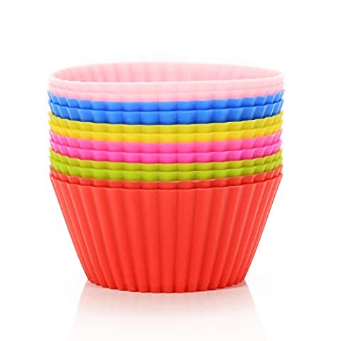 Lanlan 12verpackt wiederverwendbar Silikon dicker not-stick Cupcake Förmchen Muffin Cupcake Müllbeutel