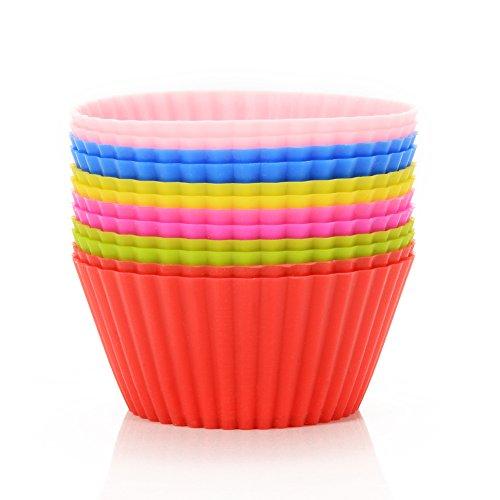 Leoie 12 stücke Backen Mini Muffin Cups Wiederverwendbare Silikon Cupcake Formen Kleine Backförmchen Trüffel Kuchen Pan Set Nonstick in 6 Farben Silikon Cupcake Liner Silikon-pan-liner