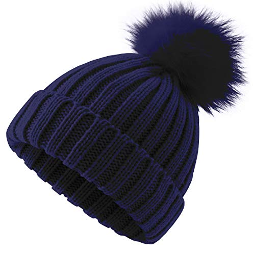 81051e34668493 ElifeAcc 2018 Warm Winter Fur Hat Knitted Pom Pom Beanie Bobble Hats for  Outdoor Camping Ski