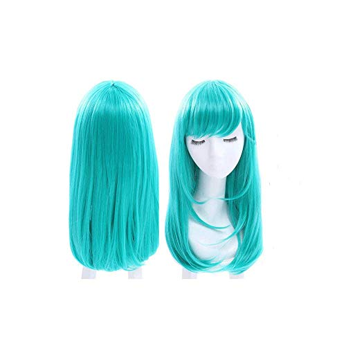 Dragon Ball Bulma Cosplay Perücke Für Frauen, Medium Long Straight Pony Green Cosplay Perücke Glatte Fashion Hair Full Perücke Mit Rose Mesh