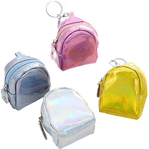 Fully 2stk. Mini Geldbörse Beutel Portemonnaie ohne Straps Make-up Taschen mit Schlüsselanhänger Reißverschluss für Kinder Mäschen - Pink-münzen-geldbeutel-schlüsselanhänger