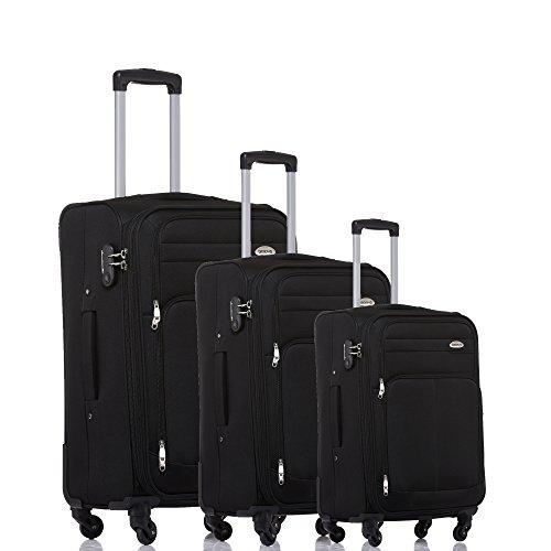 BEIBYE 8005 Stoffkoffer Gepäck Koffer 4 Rollen Reisekoffer Trolley Gepäckset SET (Schwarz) (Gepäck-set Leichtes)