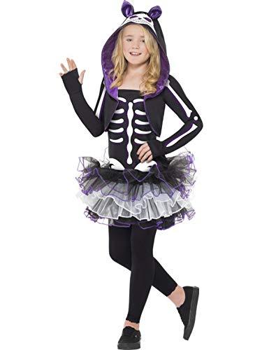 Halloweenia – costume da scheletro da bambina con vestito e cappuccio bolero, gatto scheletro con vestito e felpa con cappuccio, perfetto per carnevale, carnevale e notte, 122 – 164, nero