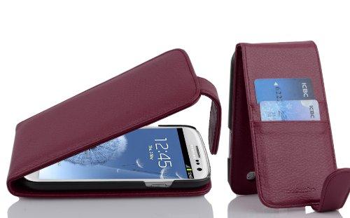 Cadorabo Hülle kompatibel mit Samsung Galaxy S3 / S3 NEO Hülle in BORDEAUX LILA Handyhülle mit Kartenfach im Flip Case Cover Schutzhülle Etui Tasche