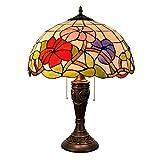 ZIXUAA Vintage Barock Tischlampe Tiffany Stil Morning Glory Schlafzimmer Nachtlicht, Kinder Nachttischlampe, Wohnzimmer Glasmalerei Licht, E27-40W-Dimmerswitch