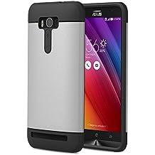 ASUS Zenfone 2 Laser Funda - MoKo [Scratch Resistant] Hybrid Armor Series Dual Layer Protection - Bumper Funda para ASUS Zenfone 2 Laser (ZE550KL / ZE551KL) 5.5 Inch Smartphone 2015 Release, Plata