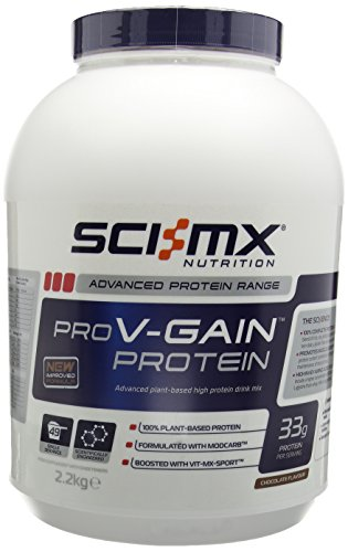 SCI-MX Nutrition PRO V-GAIN PROTEIN 2.2kg Chocolate - Advanced plant-based high protein drink mix.