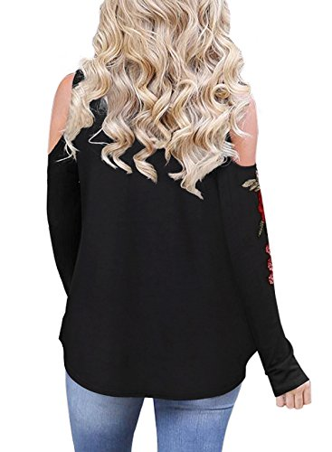 Shinekoo Donne Manica Lunga Spalle Scoperte Camicetta Casuale Autunno Top Black embroided