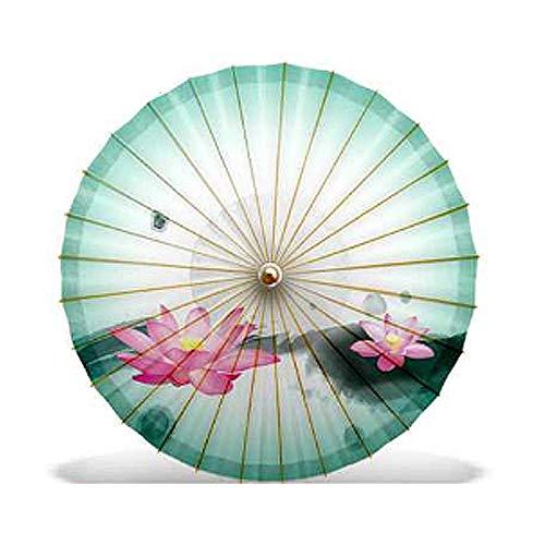 ZJPP Ölpapier-Regenschirm, Sonnenschutz-praktischer Tanz-Laufsteg-Regenschirm, klassischer chinesischer Art-Lotus-Regenschirm, Tinte künstlerischer Lotus,Color6