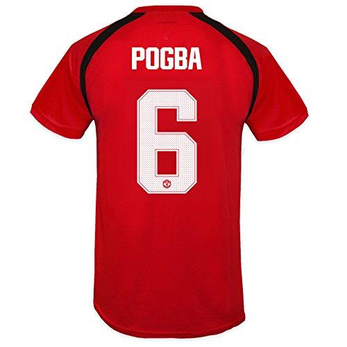 Manchester United FC officiel - T-shirt pour entrainement de football - polyester - garçon - Rouge 6 Pogba - 12-13 ans