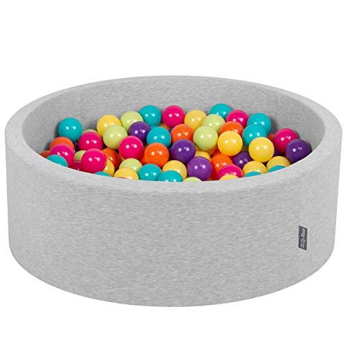 KiddyMoon 90X30cm/200 Bolas ∅ 7Cm Piscina De Bolas para Ninos Hecha En La UE, Gris Clr:Verde Clr,Amarillo,Turquesa,Naranja,Pink Os,Morado