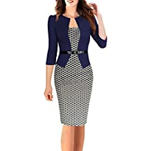 Minetom Femmes Vintage Grille Tunique Moulante Bureau des Affaires Robes  Pour le Travail Pencil Bodycon Party