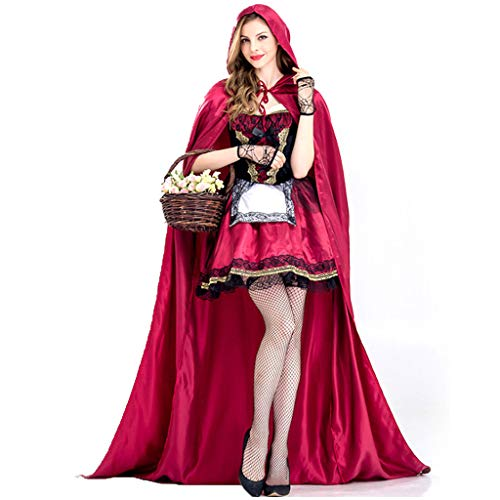 Kostüm Renaissance Zeitraum - YHNUJMIK Halloween Rotes Haubenkostüm Prinzessin Kostüm Ballkleid Theater Kostüm Cosplay Für Erwachsene Brautjungfer Zeitraum Kleid Umhang + Handschmuck Weihnachten,S
