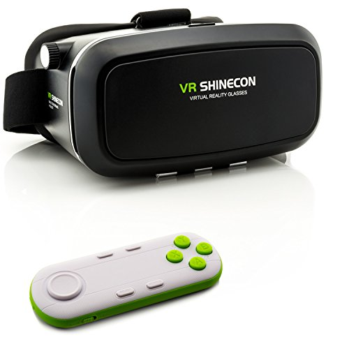 3D VR Brille für Virtual Reality + VR 3D Universal Bluetooth Controller in Weiß/Grün - VR Headset...
