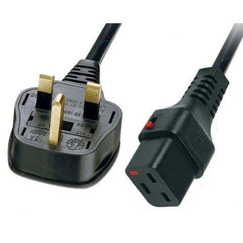 Câble d'alimentation UK secteur mâle Fusionné 13A vers prise IEC C19prise femelle Lock Noir 2m