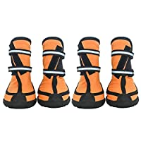 Mike Wodehous 4 Pc/Set Pet Waterproof Rain Shoes for Medium Large Dogs Multi Colors Optional Dog Rain Boots Booties for Bogs