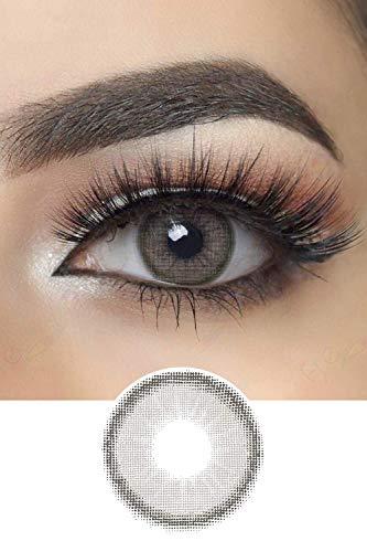 Stark deckende natürliche Canna Roze Farbige Kontaktlinsen Natürlich Aussehend 1 Paar (2 Stück) I DIA 14.00 I ohne Stärke I 0.00 Dioptrien (Charcoal Gray)